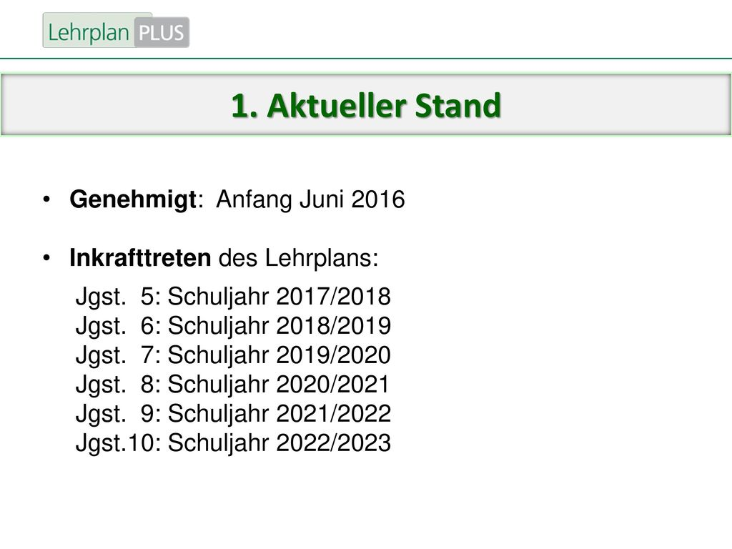 1. Aktueller Stand Genehmigt: Anfang Juni 2016