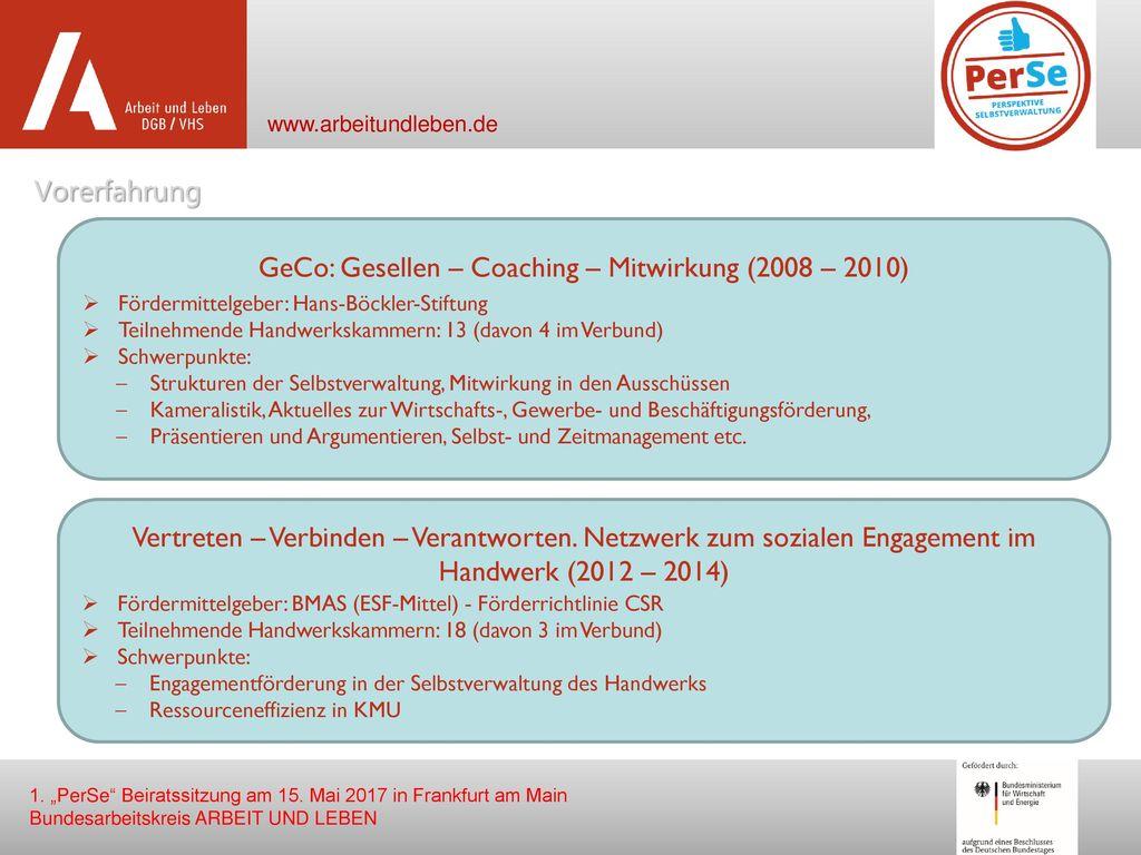 GeCo: Gesellen – Coaching – Mitwirkung (2008 – 2010)