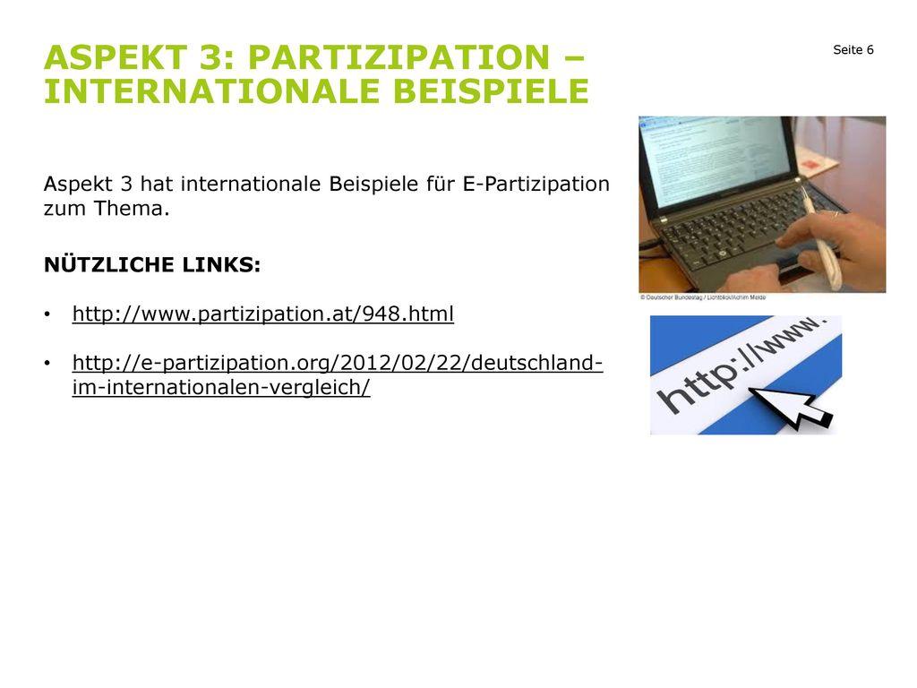 Aspekt 3: Partizipation – internationale Beispiele