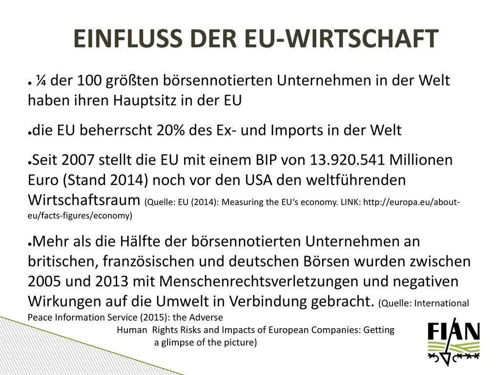 EINFLUSS DER EU-WIRTSCHAFT