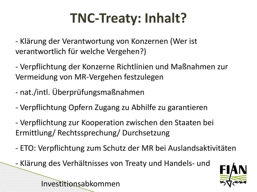 TNC-Treaty: Inhalt - Klärung der Verantwortung von Konzernen (Wer ist verantwortlich für welche Vergehen )