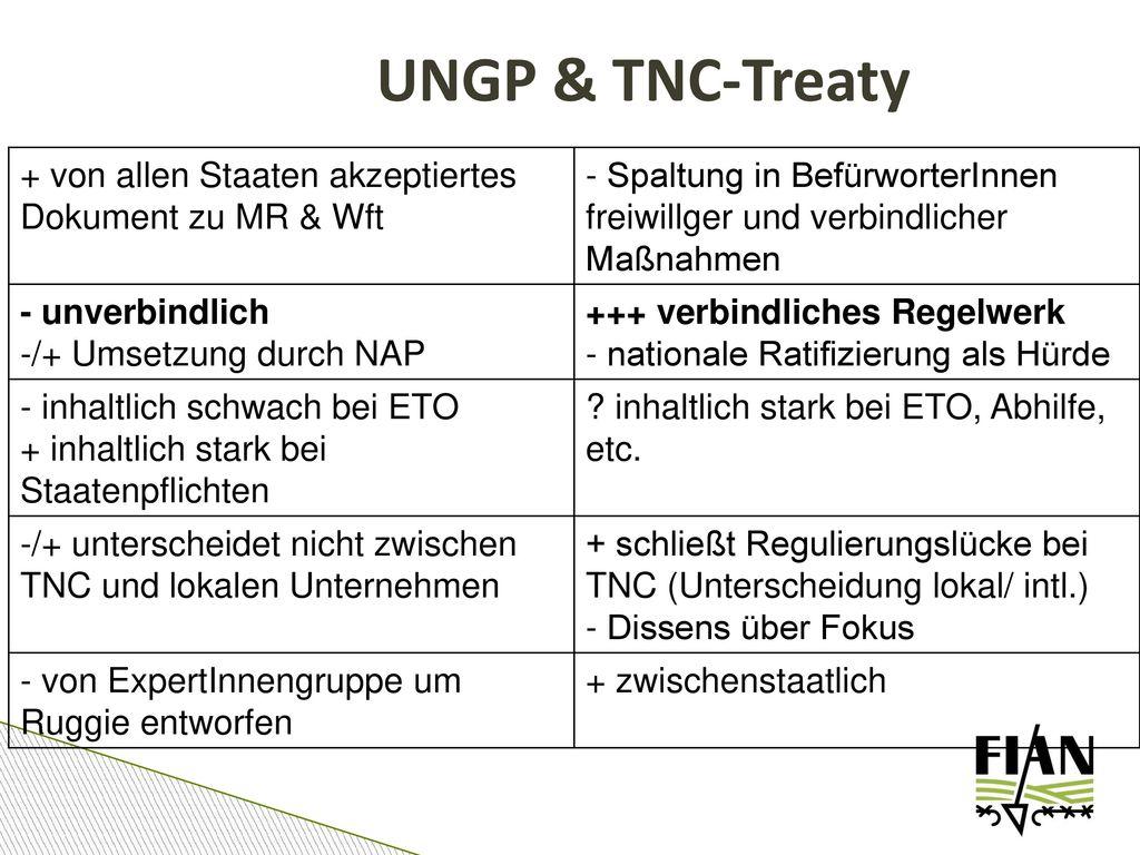 UNGP & TNC-Treaty + von allen Staaten akzeptiertes Dokument zu MR & Wft. - Spaltung in BefürworterInnen freiwillger und verbindlicher Maßnahmen.