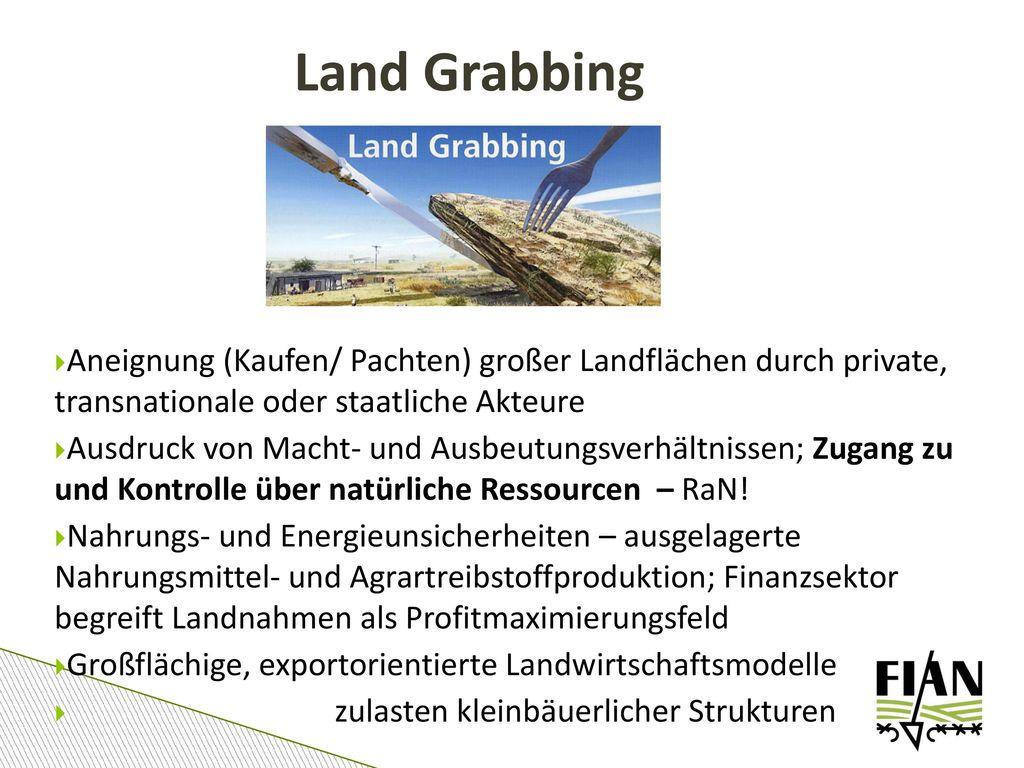 Land Grabbing Aneignung (Kaufen/ Pachten) großer Landflächen durch private, transnationale oder staatliche Akteure.