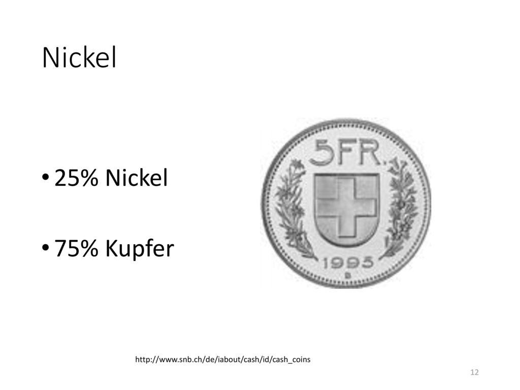 Nickel 25% Nickel 75% Kupfer