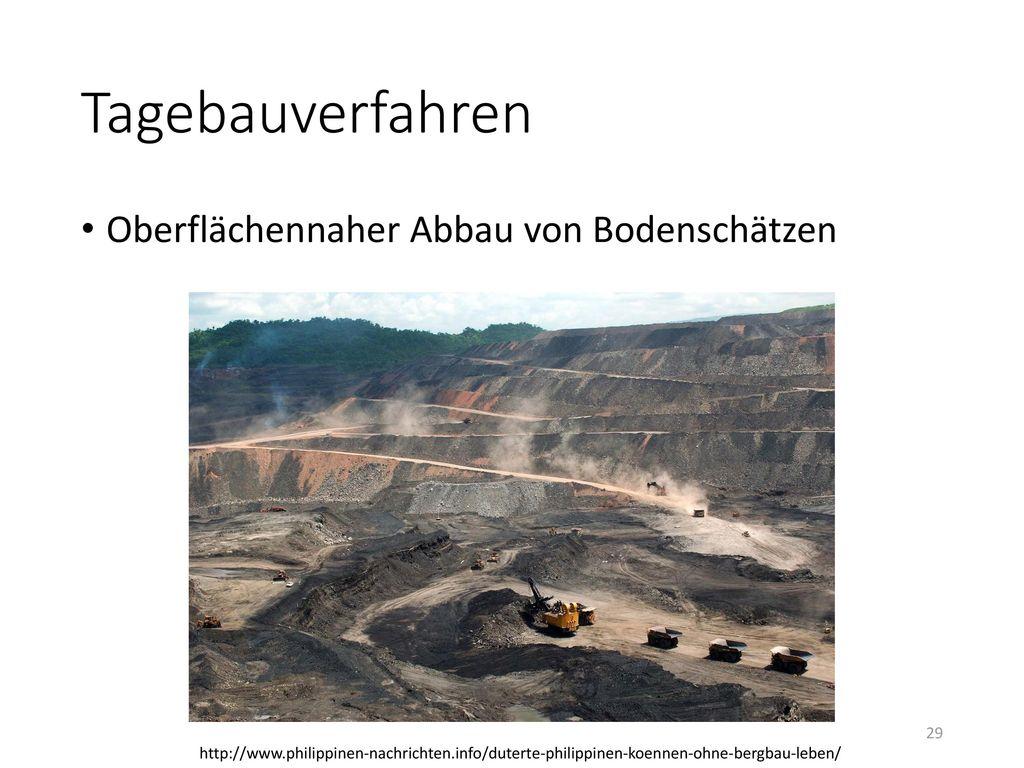 Tagebauverfahren Oberflächennaher Abbau von Bodenschätzen