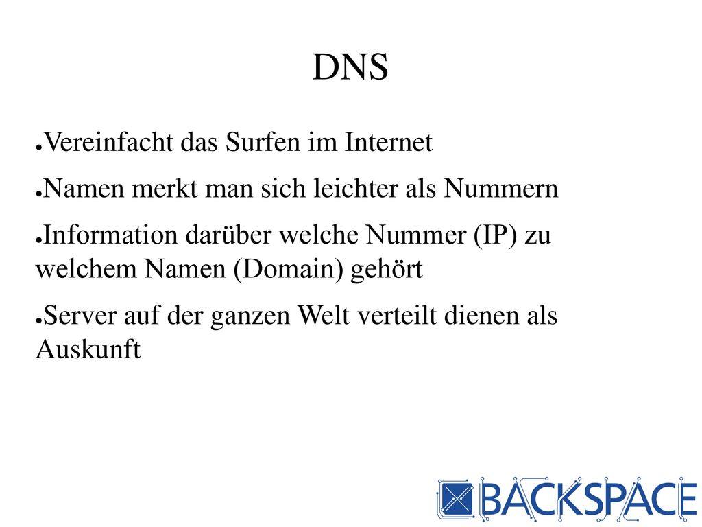 DNS Vereinfacht das Surfen im Internet