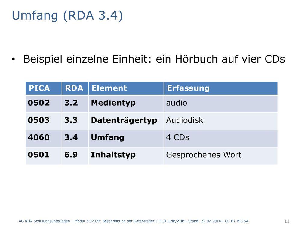 Umfang (RDA 3.4) Beispiel einzelne Einheit: ein Hörbuch auf vier CDs