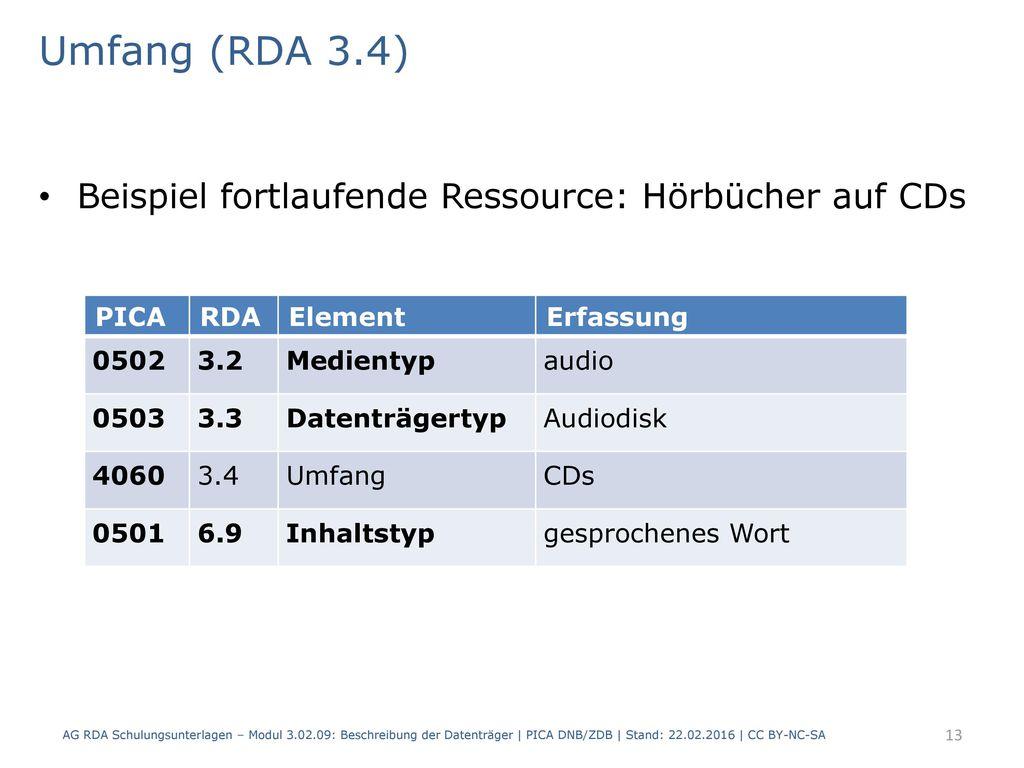 Umfang (RDA 3.4) Beispiel fortlaufende Ressource: Hörbücher auf CDs