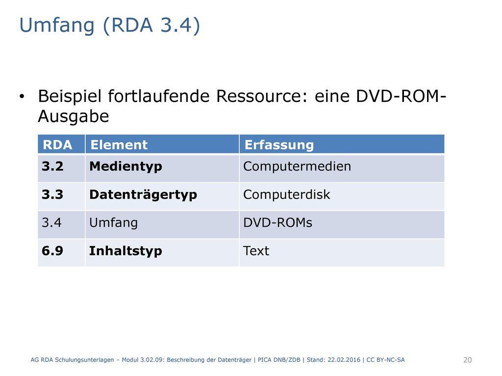 Umfang (RDA 3.4) Beispiel fortlaufende Ressource: eine DVD-ROM- Ausgabe. RDA. Element. Erfassung.
