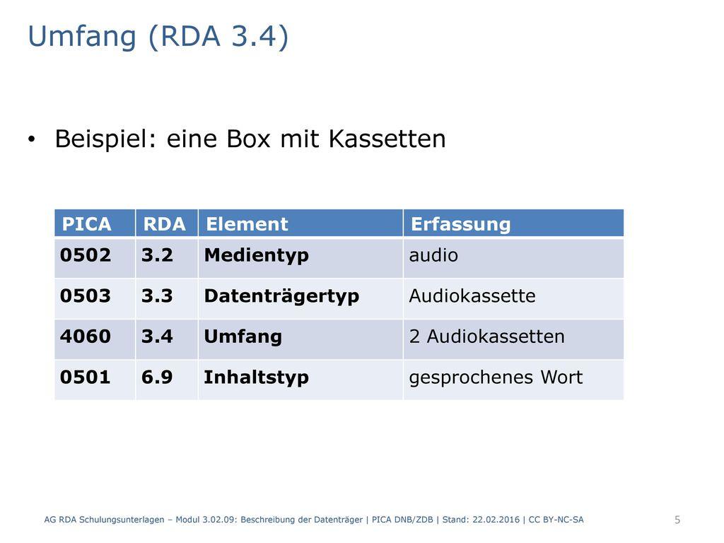 Umfang (RDA 3.4) Beispiel: eine Box mit Kassetten PICA RDA Element