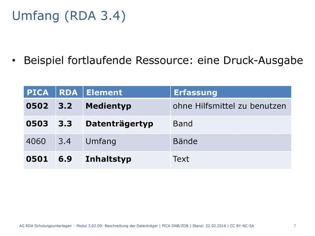 Umfang (RDA 3.4) Beispiel fortlaufende Ressource: eine Druck-Ausgabe