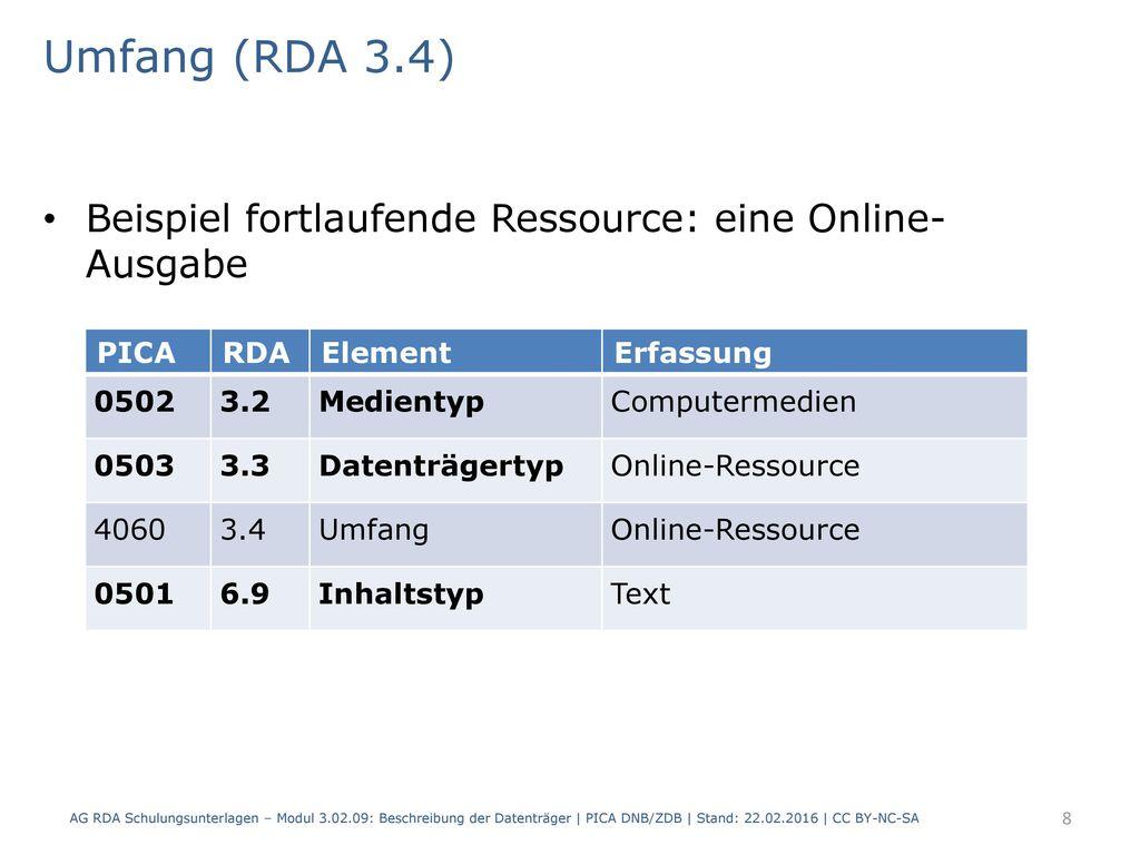 Umfang (RDA 3.4) Beispiel fortlaufende Ressource: eine Online- Ausgabe