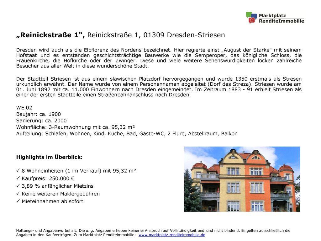 """Reinickstraße 1 , Reinickstraße 1, 01309 Dresden-Striesen"