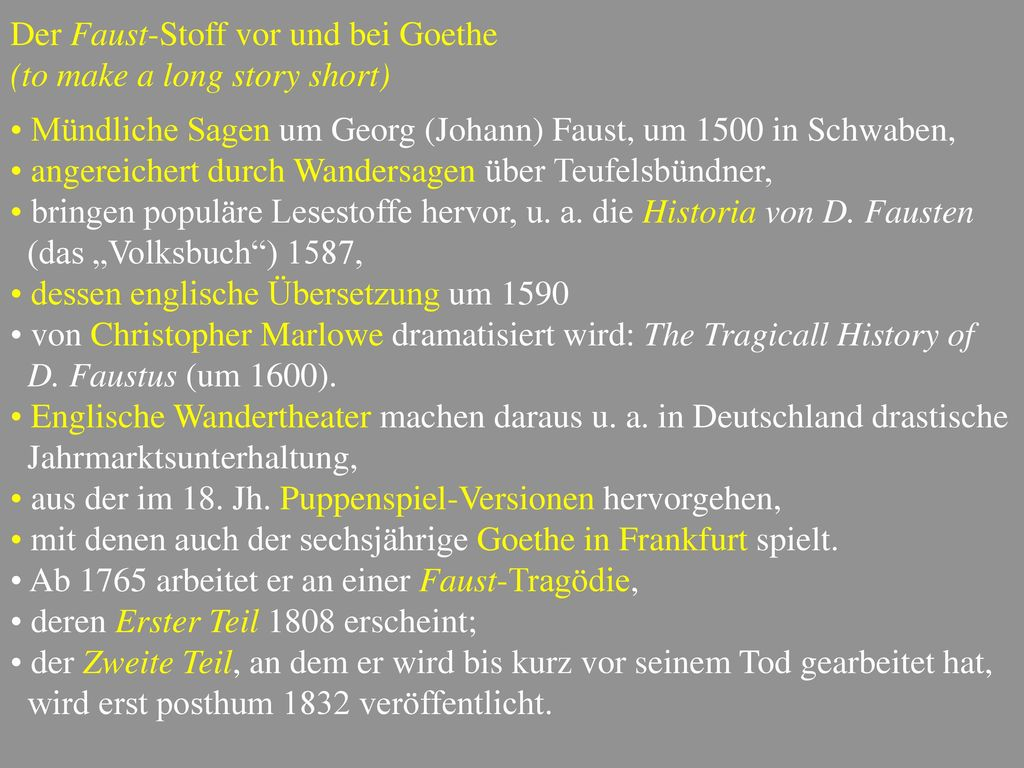 Der Faust-Stoff vor und bei Goethe