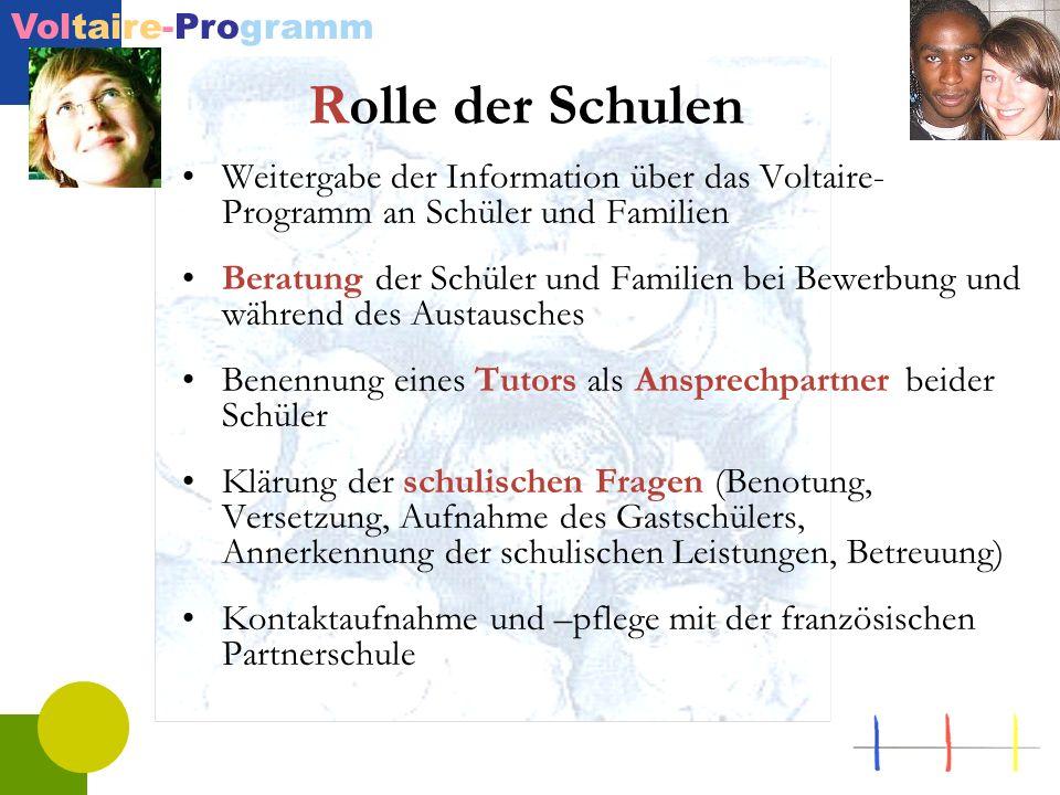Rolle der SchulenWeitergabe der Information über das Voltaire-Programm an Schüler und Familien.
