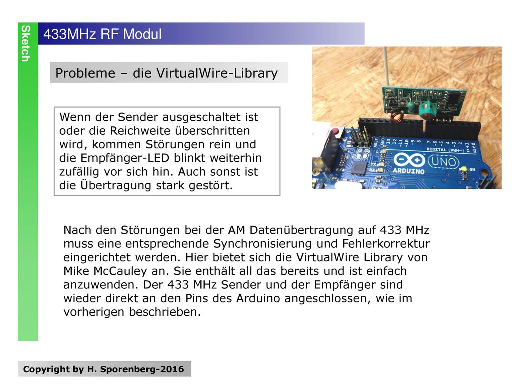 433MHz RF Modul Probleme – die VirtualWire-Library Sketch