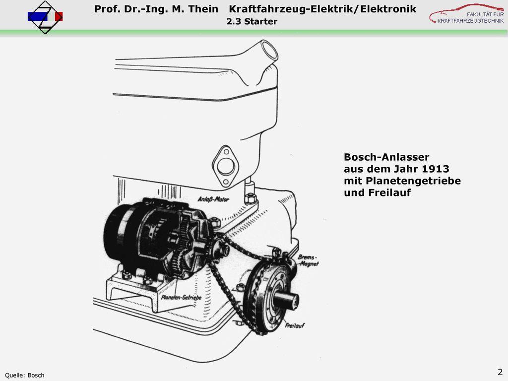 Bosch-Anlasser aus dem Jahr 1913 mit Planetengetriebe und Freilauf