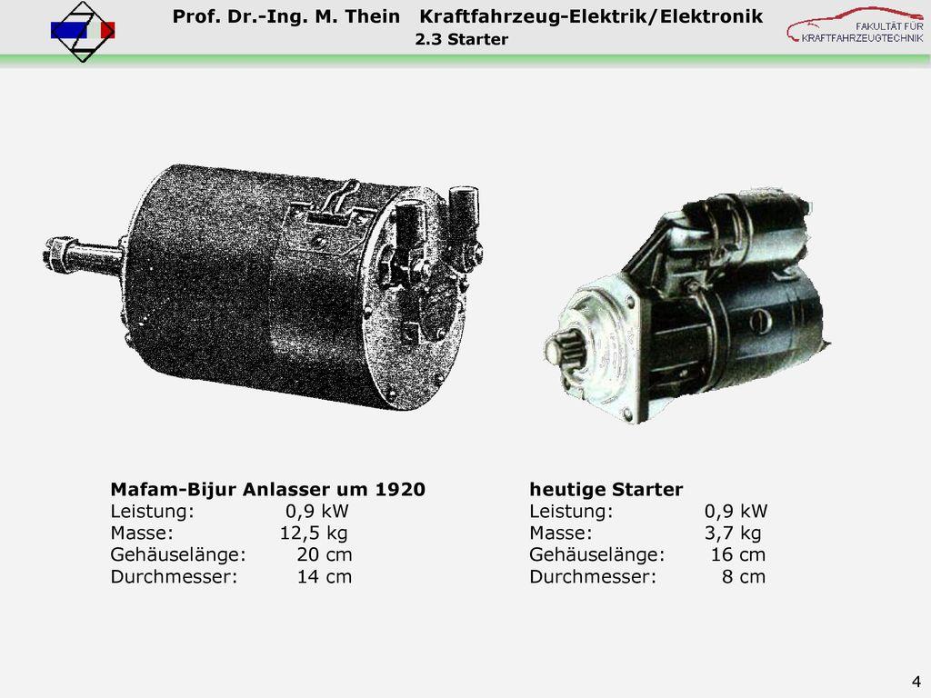Mafam-Bijur Anlasser um 1920 Leistung: 0,9 kW Masse: 12,5 kg