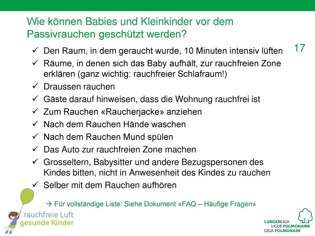 Wie können Babies und Kleinkinder vor dem Passivrauchen geschützt werden