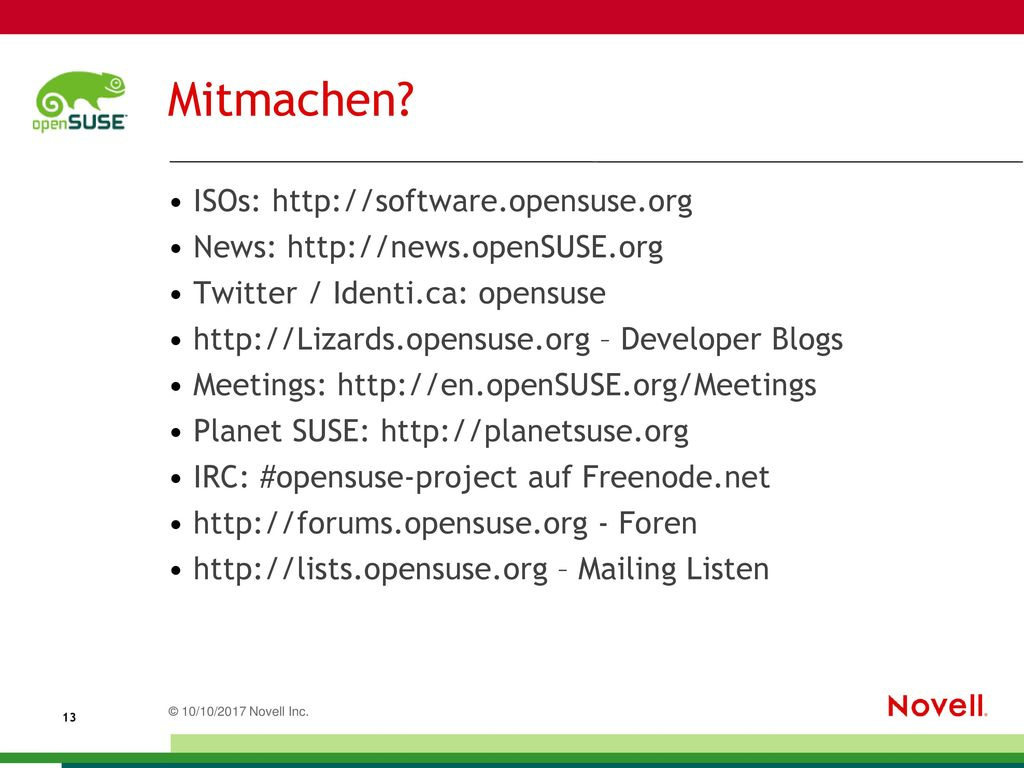 Mitmachen ISOs: http://software.opensuse.org