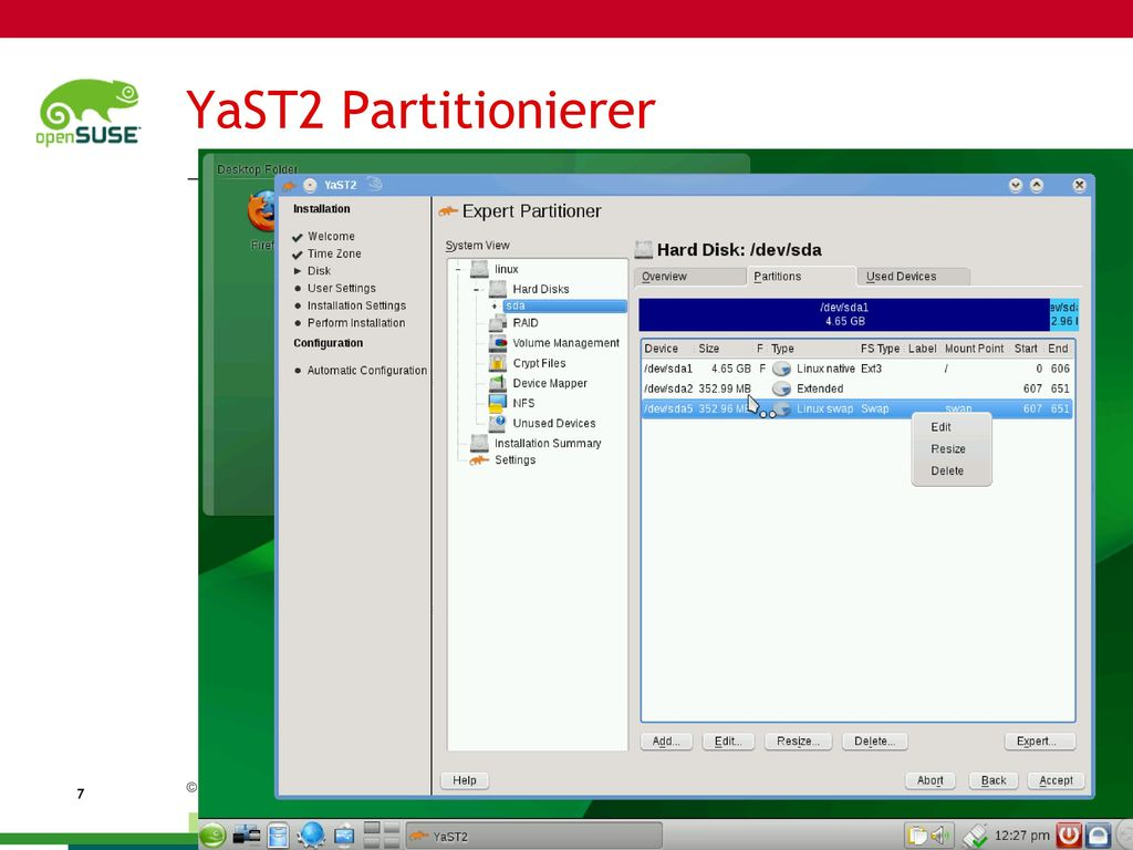 YaST2 Partitionierer Full Disk Encryption