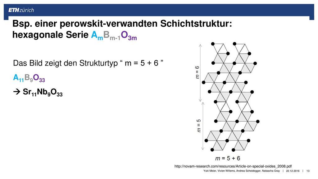 Bsp. einer perowskit-verwandten Schichtstruktur: hexagonale Serie AmBm-1O3m