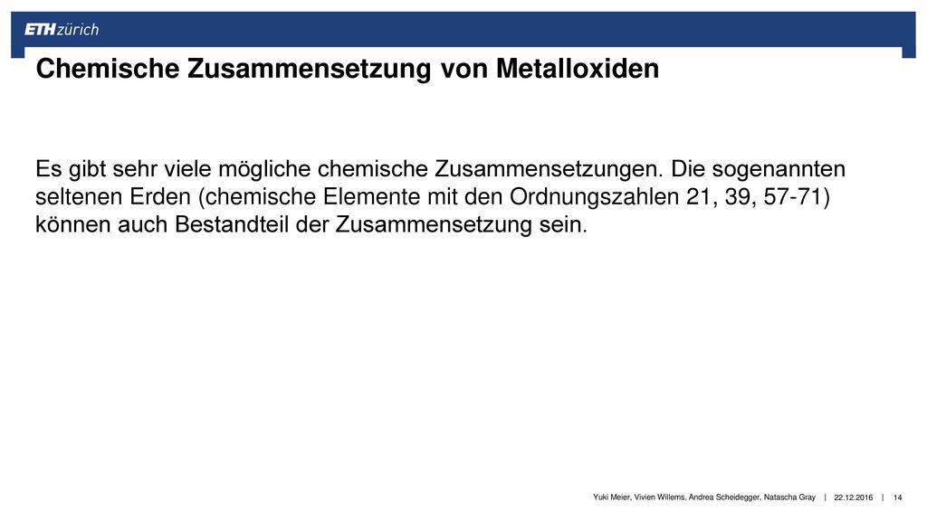 Chemische Zusammensetzung von Metalloxiden