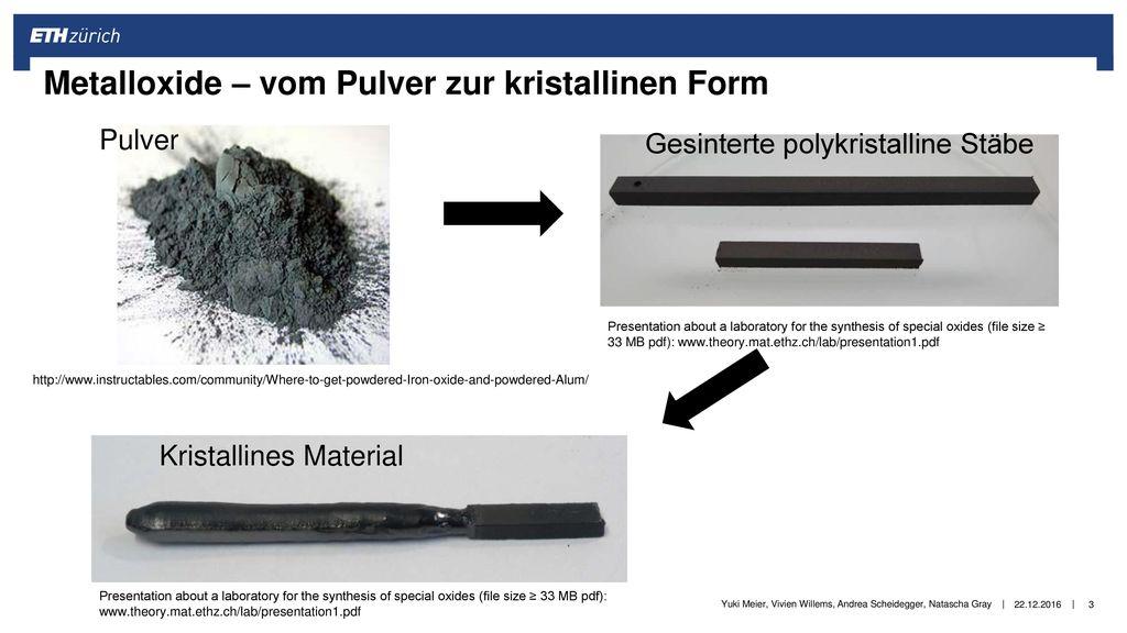 Metalloxide – vom Pulver zur kristallinen Form