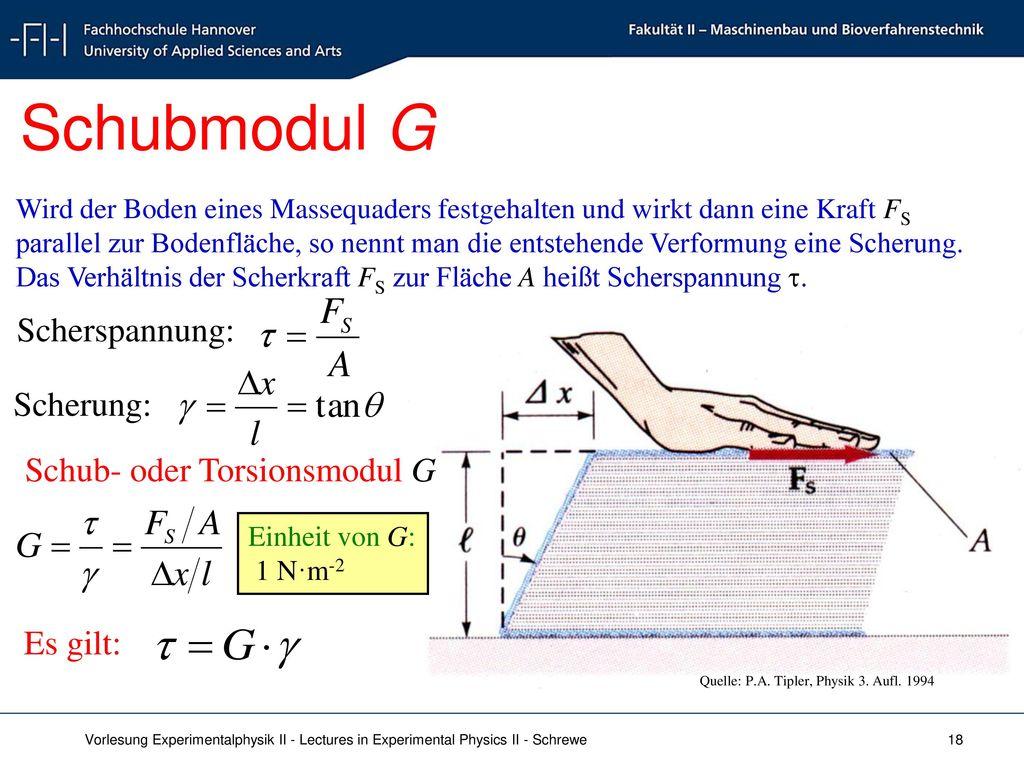 Schubmodul G Scherspannung: Scherung: Schub- oder Torsionsmodul G