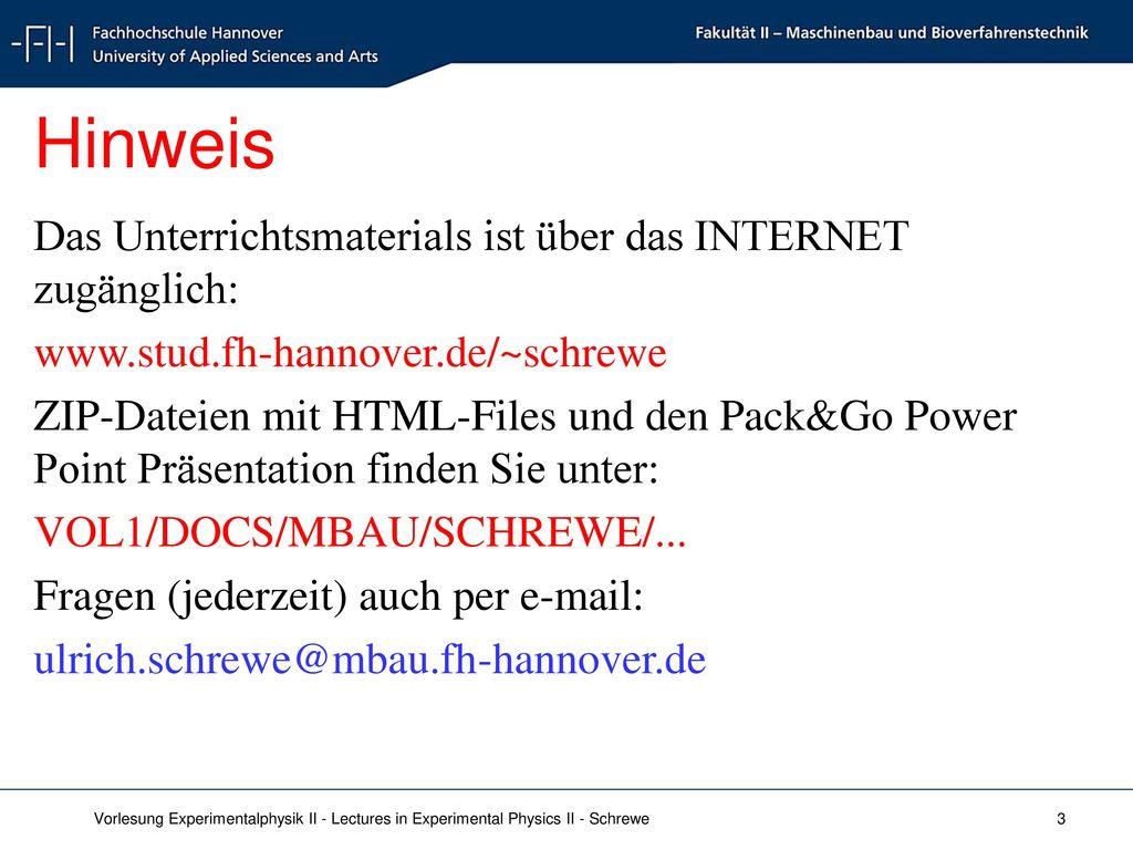 Hinweis Das Unterrichtsmaterials ist über das INTERNET zugänglich: