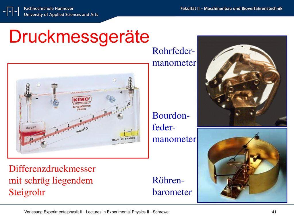 Druckmessgeräte Rohrfeder-manometer Bourdon-feder-manometer