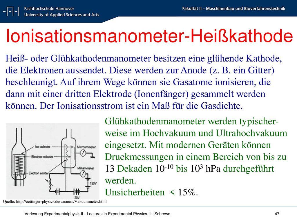 Ionisationsmanometer-Heißkathode