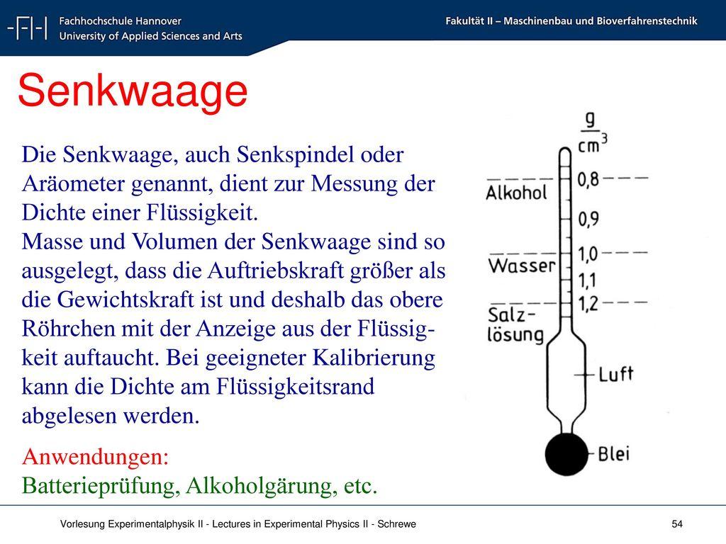 Senkwaage Die Senkwaage, auch Senkspindel oder Aräometer genannt, dient zur Messung der Dichte einer Flüssigkeit.