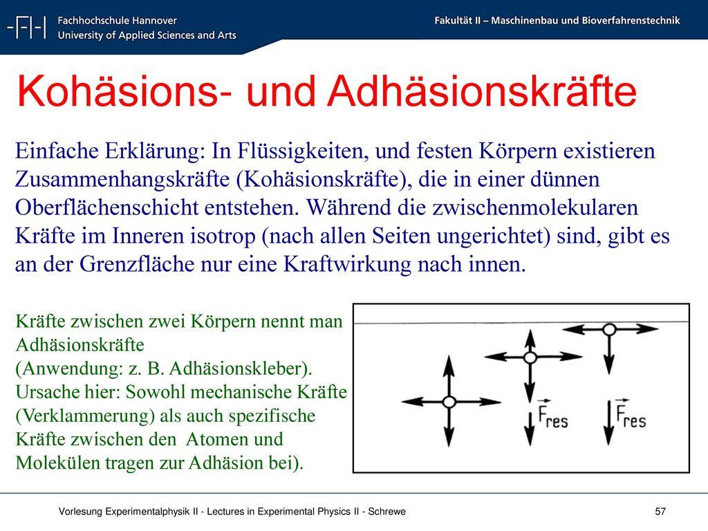Kohäsions- und Adhäsionskräfte