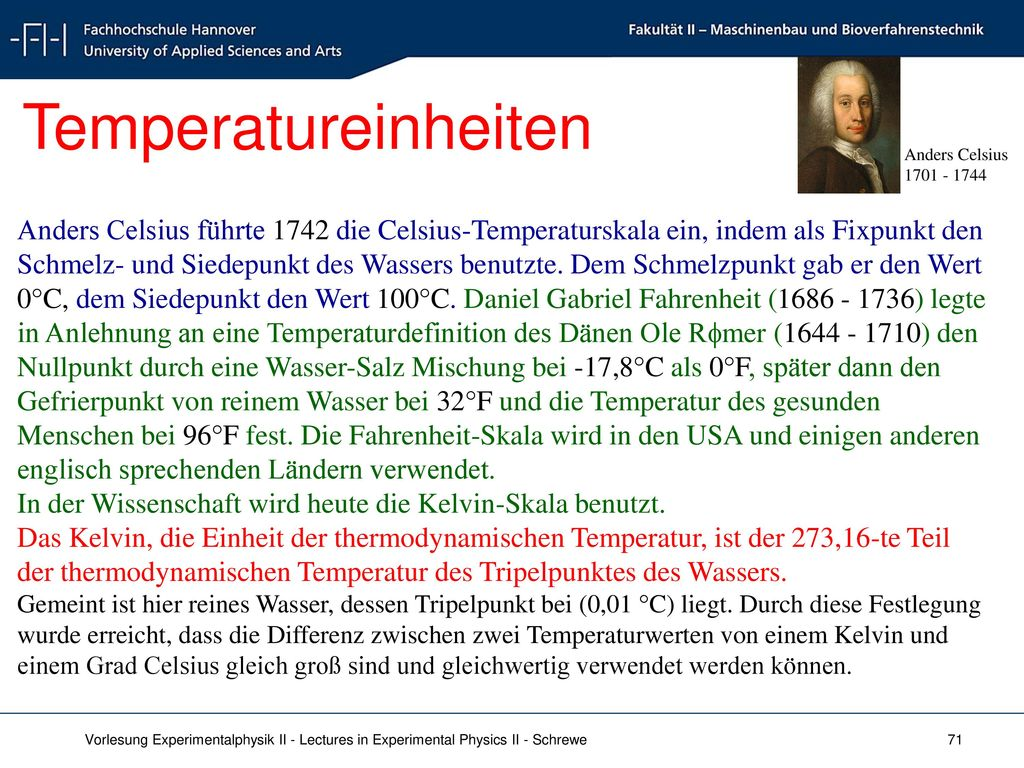 Temperatureinheiten Anders Celsius. 1701 - 1744.