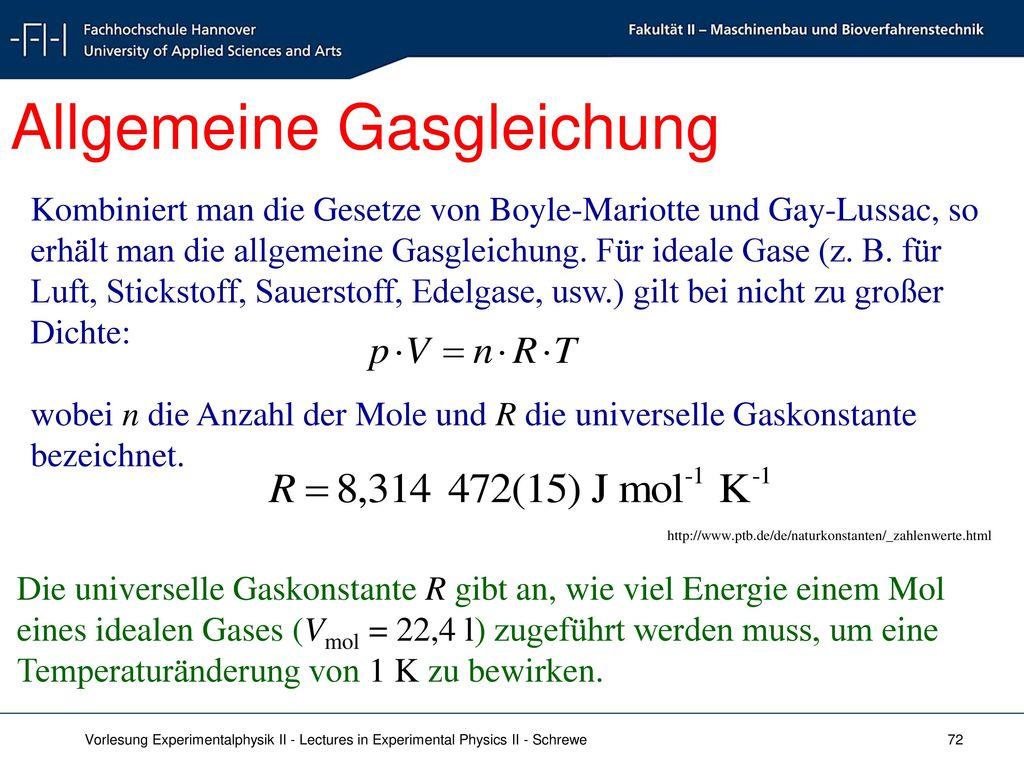 Allgemeine Gasgleichung