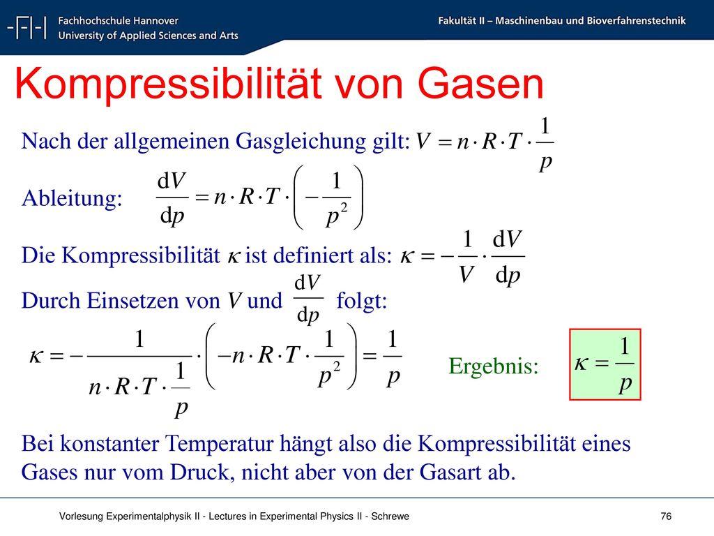 Kompressibilität von Gasen