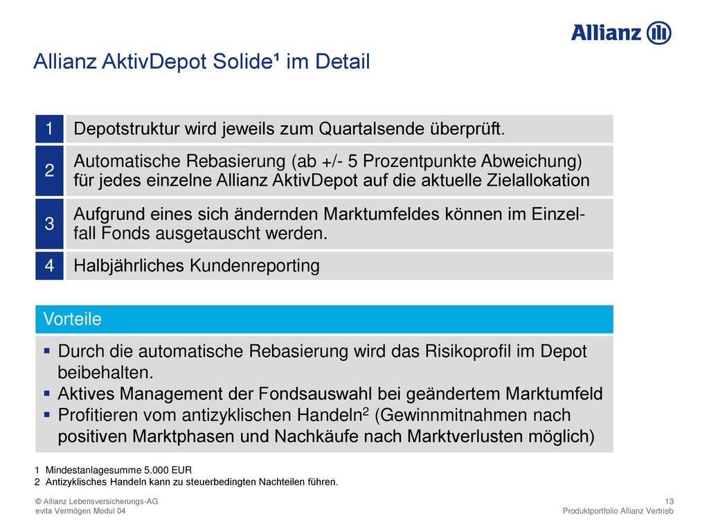 Allianz AktivDepot Solide¹ im Detail