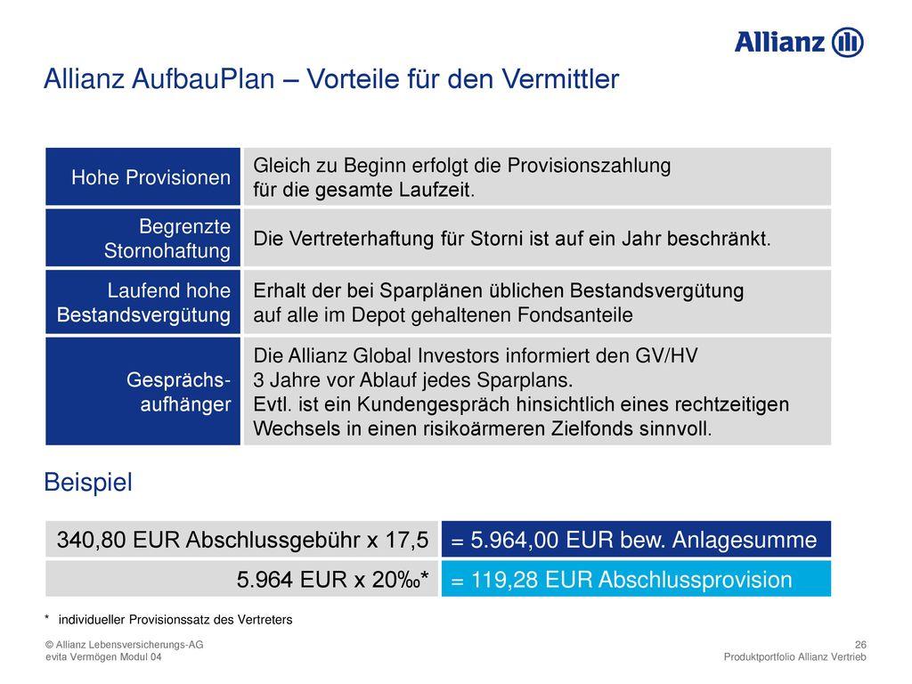 Allianz AufbauPlan – Vorteile für den Vermittler