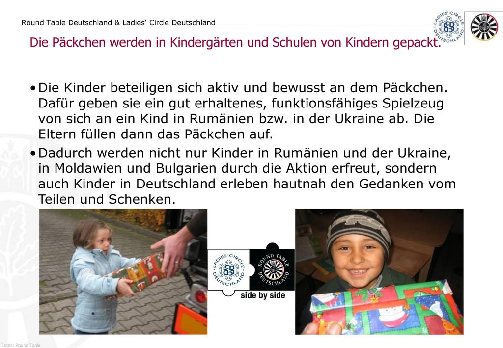 Die Päckchen werden in Kindergärten und Schulen von Kindern gepackt.