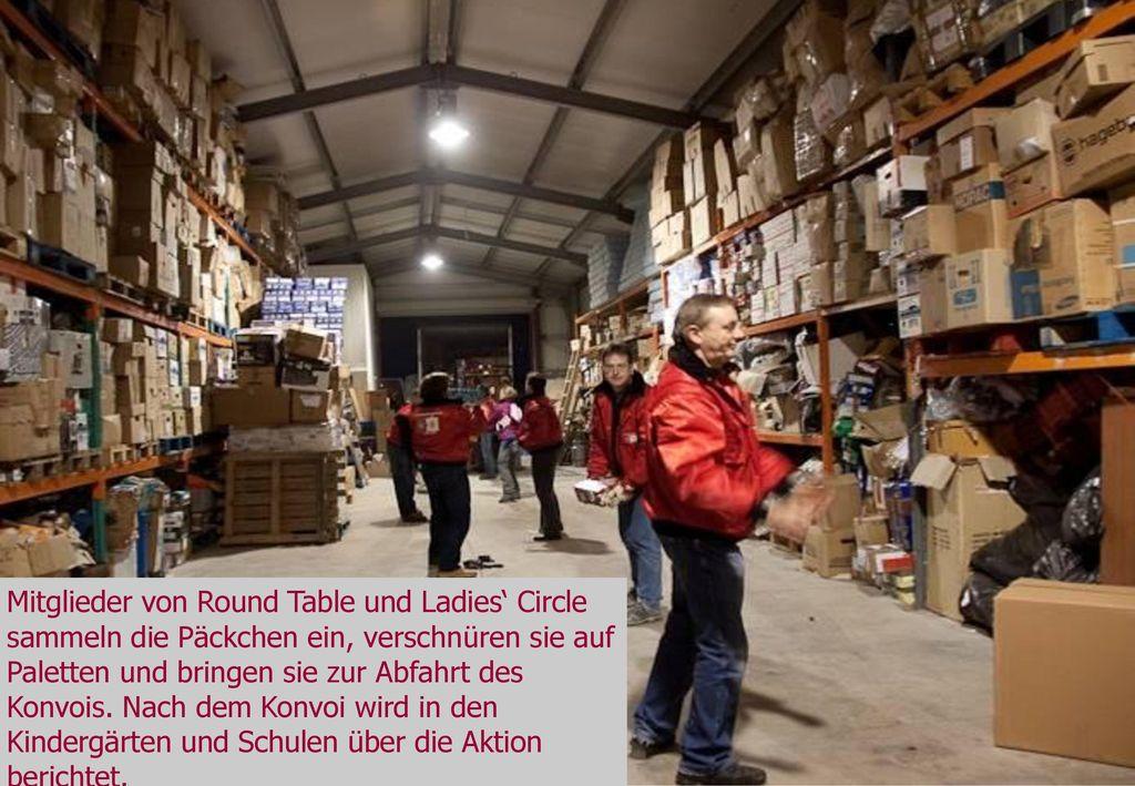 Mitglieder von Round Table und Ladies' Circle sammeln die Päckchen ein, verschnüren sie auf Paletten und bringen sie zur Abfahrt des Konvois. Nach dem Konvoi wird in den Kindergärten und Schulen über die Aktion berichtet.