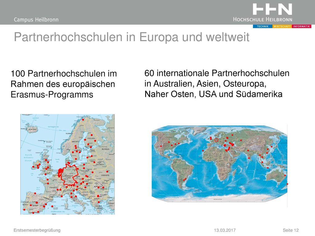 Partnerhochschulen in Europa und weltweit