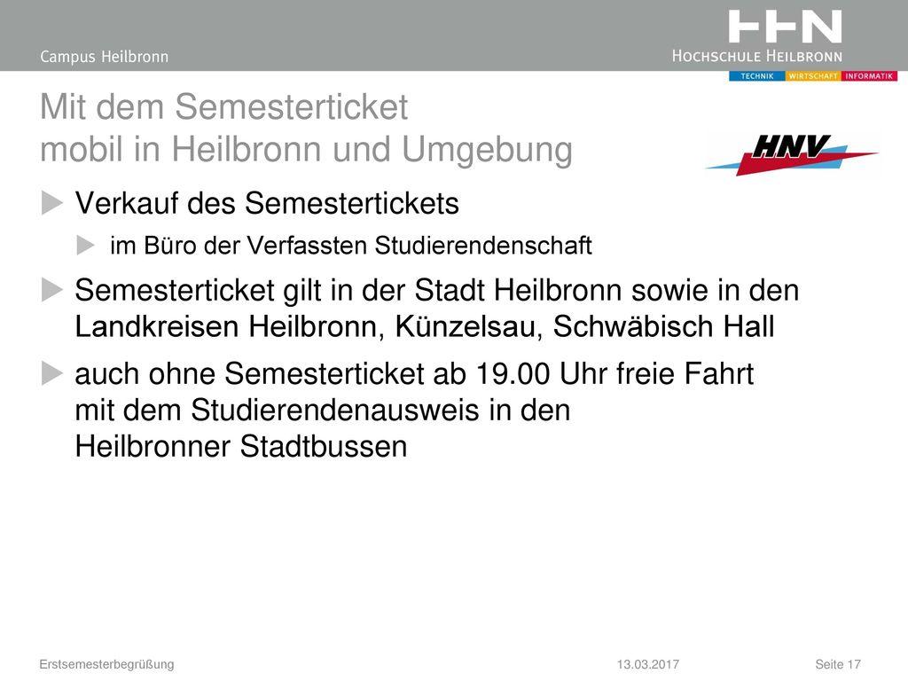 Mit dem Semesterticket mobil in Heilbronn und Umgebung