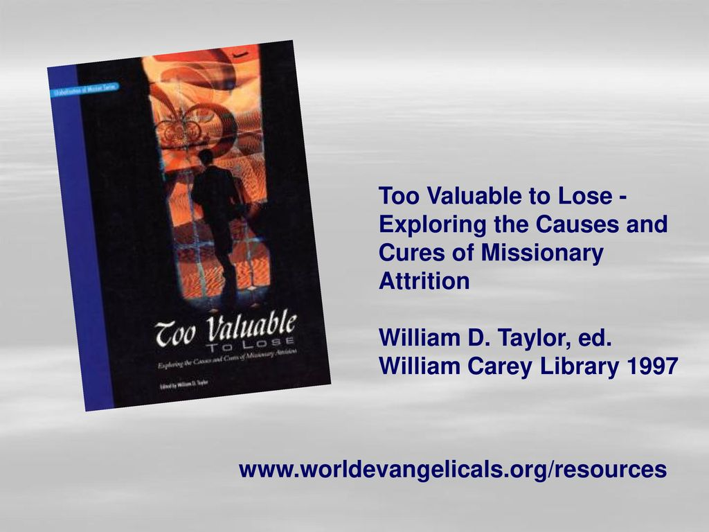 Too Valuable to Lose - Exploring the Causes and Cures of Missionary Attrition. William D. Taylor, ed.