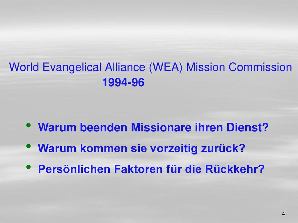 World Evangelical Alliance (WEA) Mission Commission 1994-96