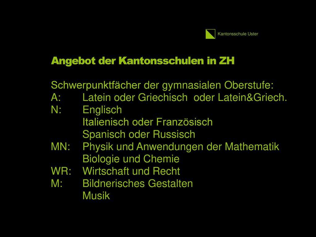 Angebot der Kantonsschulen in ZH