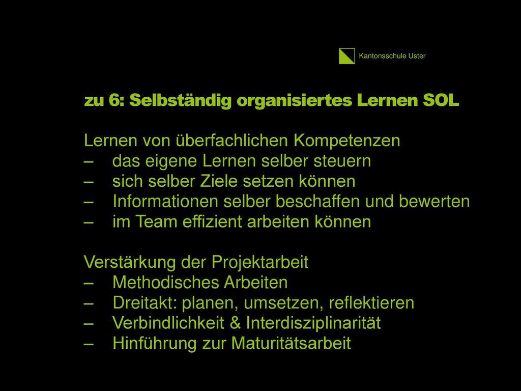 zu 6: Selbständig organisiertes Lernen SOL