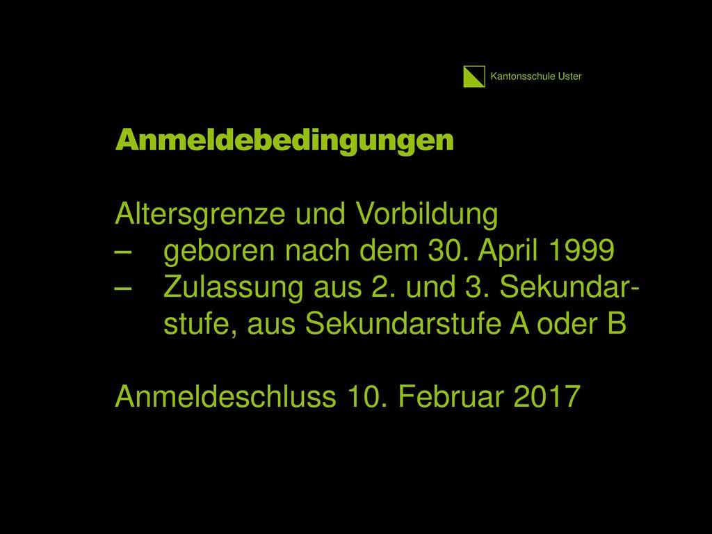 Altersgrenze und Vorbildung geboren nach dem 30. April 1999