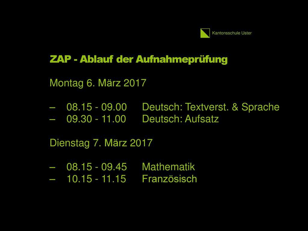 ZAP - Ablauf der Aufnahmeprüfung