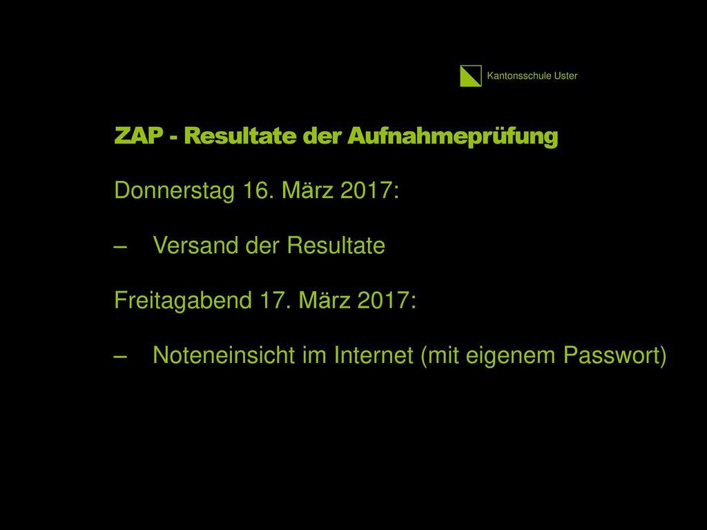 ZAP - Resultate der Aufnahmeprüfung